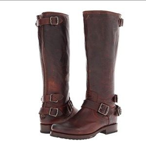 Frye Veronica 100% Leather Back Zip Boot Size 6.5